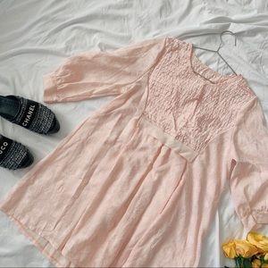 Vintage 80s Pale Pink Babydoll Mini Floral Dress